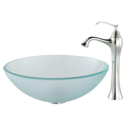 Kraus Glass Vessel Sink and Ventus Faucet
