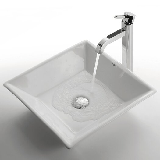 Kraus Ceramic Square Bathroom Sink with Ramus Single Lever Faucet