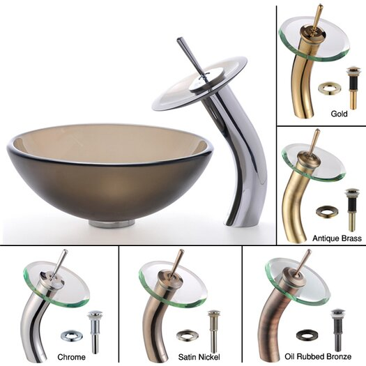 Kraus Frosted Brown Glass Vessel Sink and Waterfall Faucet