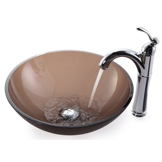 Kraus Frosted Brown Glass Vessel Sink and Rivera Faucet