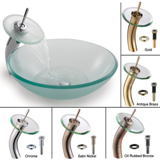 Kraus Frosted Clear Glass Sink & Waterfall Faucet