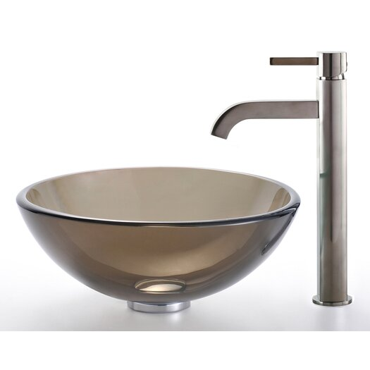 Kraus Clear Brown Glass Vessel Sink and Ramus Faucet