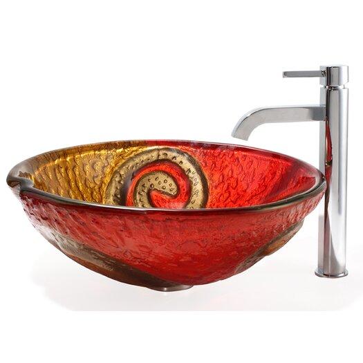 Kraus Bathroom Combos Snake Glass Vessel Bathroom Sink with Ramus Faucet