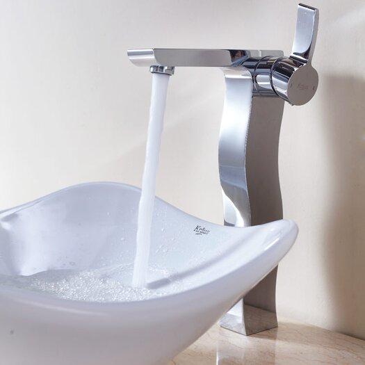 Kraus Bathroom Combos Tulip Ceramic Bathroom Sink with Single Handle Single Hole Faucet