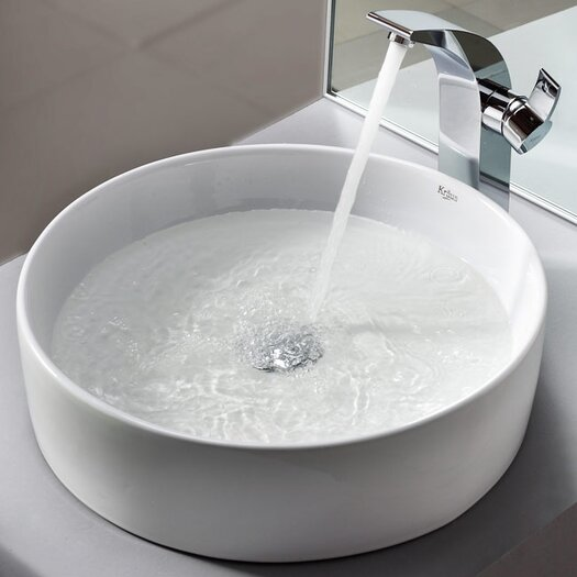 Kraus Bathroom Combos Bathroom Sink  with Single Handle Single Hole Waterfall Illusio Faucet