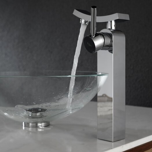 Kraus Crystal Clear Glass Vessel Sink and Unicus Faucet
