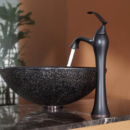 Kraus Callisto Glass Vessel Sink and Ventus Faucet