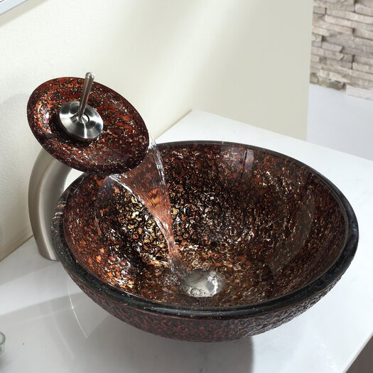 Kraus Venus Glass Vessel Sink with Pop Up Drain and Mounting Ring