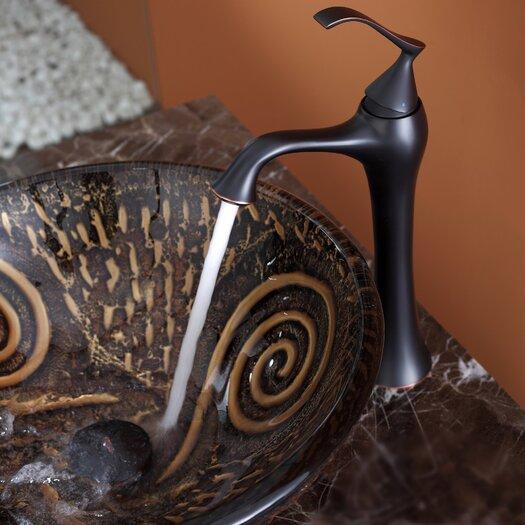 Kraus Luna Glass Vessel Sink and Ventus Faucet