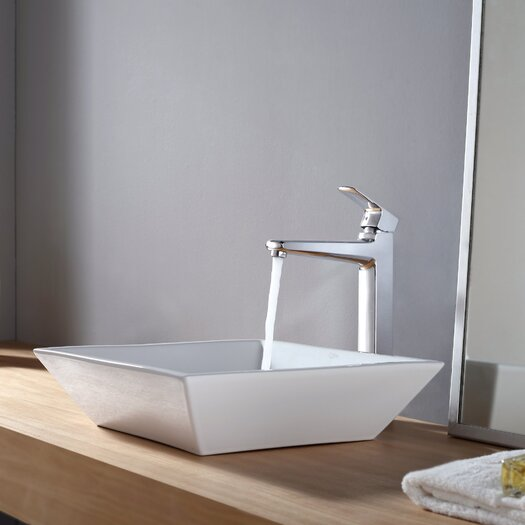Kraus Virtus Square Ceramic Bathroom Sink with Faucet