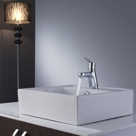 """Kraus 18.5"""" Square Sink and Ferus Basin Faucet"""
