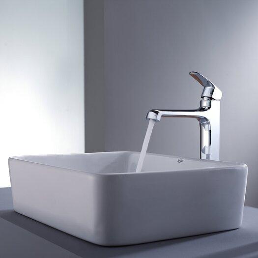 Kraus Decorum Rectangular Ceramic Bathroom Sink and Faucet