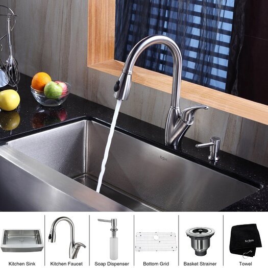 "Kraus 35.9"" x 20.75"" x 10"" Farmhouse Kitchen Sink with Faucet and Soap Dispenser"