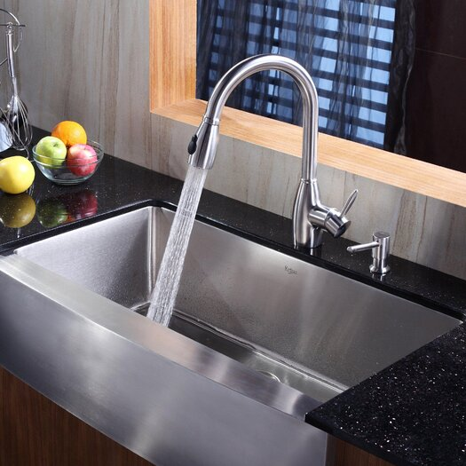 """Kraus 35.88"""" x 20.75"""" Farmhouse Kitchen Sink with Faucet and Soap Dispenser"""