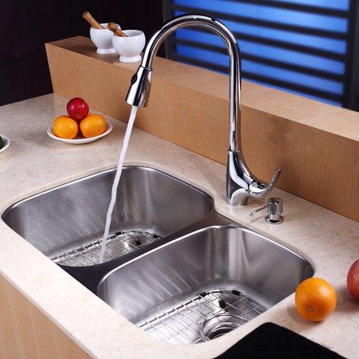 """Kraus 32"""" x 20.75"""" Undermount 60/40 Double Bowl Kitchen Sink Set"""