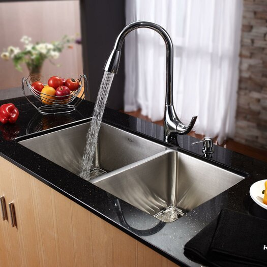 """Kraus 32.75"""" x 19"""" Undermount 70/30 Double Bowl Kitchen Sink with Faucet and Soap Dispenser"""
