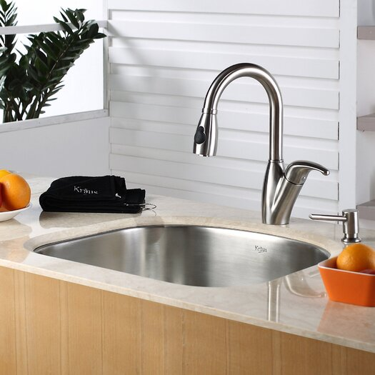Kraus Single Handle Single Hole Kitchen Faucet with Soap Dispenser