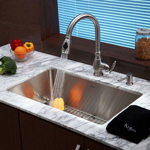 """Kraus 30"""" x 18"""" 6 Piece Undermount Single Bowl Kitchen Sink Set"""