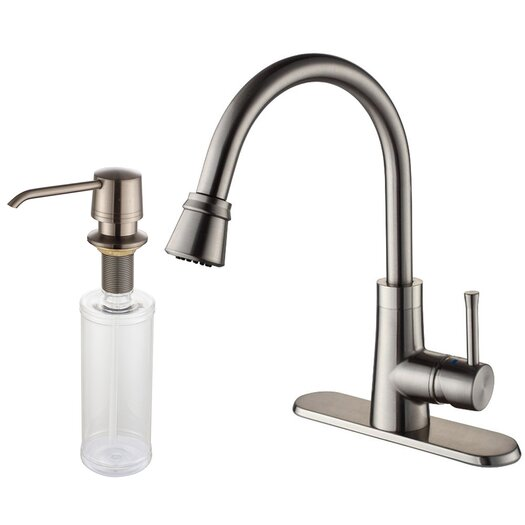 "Kraus One Handle Single Hole Kitchen 14.63"" Faucet with Soap Dispenser and Pull Out Spray"