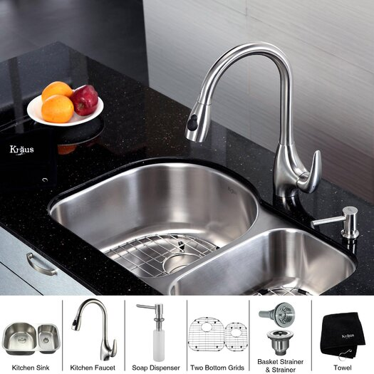 "Kraus 30"" x 19.5"" Undermount Double Bowl Kitchen Sink and Faucet with Soap Dispenser"