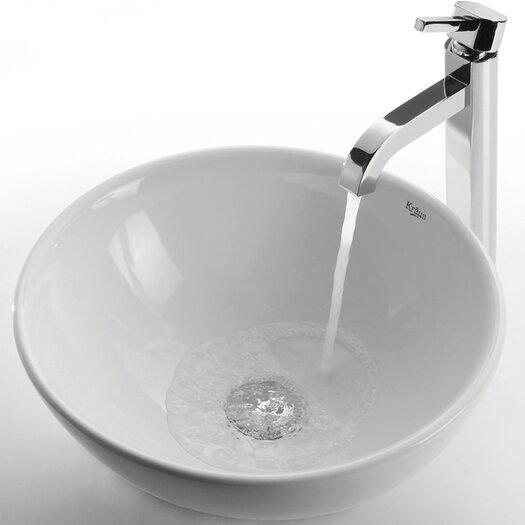 Kraus Ceramic Round Bathroom Sink with Ramus Single Lever Faucet