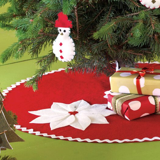 Eastern Accents North Pole Holiday Floral Mini Tree Skirt in Red