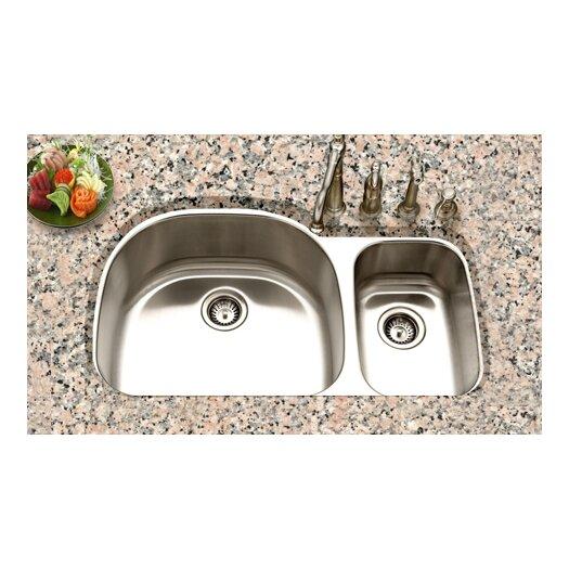 "Houzer Eston 32.19"" x 20.5"" Undermount 70/30 Double Bowl Kitchen Sink"