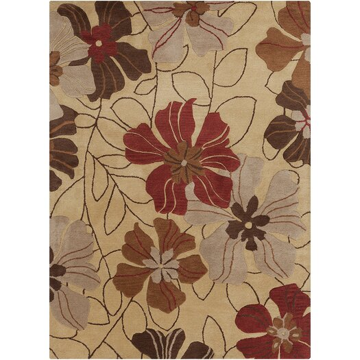 Chandra Rugs Bajrang Floral Beige/Red Area Rug