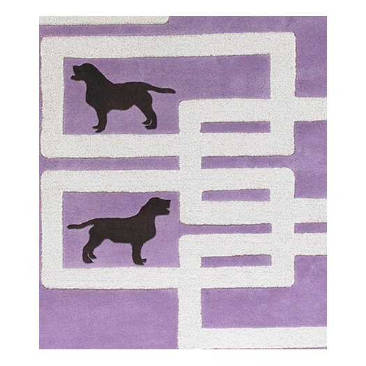 Chandra Rugs Avalisa Dog Purple/White Novelty Rug