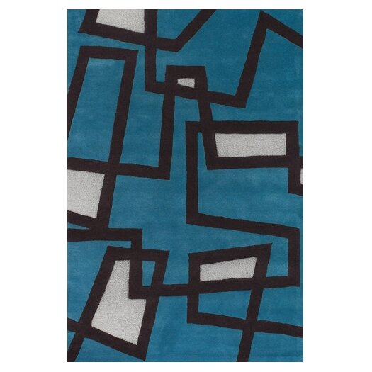 Chandra Rugs Bense Garza Blue/White Area Rug