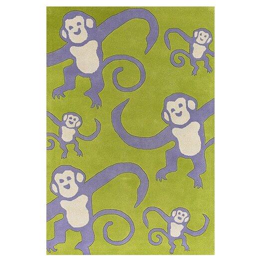 Chandra Rugs Kids Green Monkey Area Rug