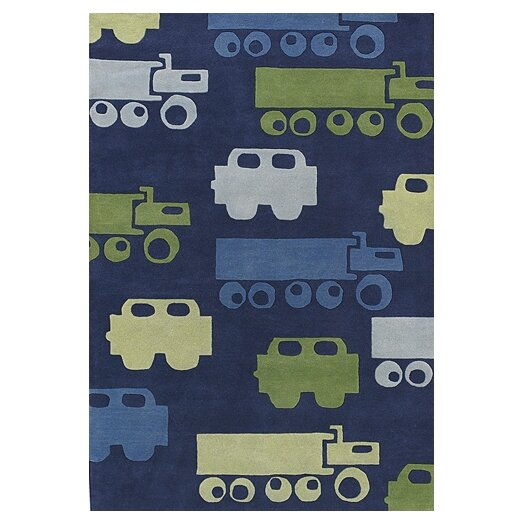 Chandra Rugs Kids Blue Car Area Rug