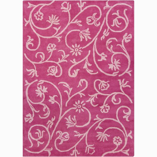 Chandra Rugs Bajrang Pink Swirl Floral Area Rug
