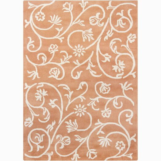 Chandra Rugs Bajrang Orange Swirl Floral Area Rug