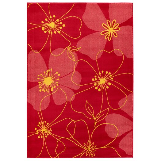 Chandra Rugs Dersh Red Flower Rug