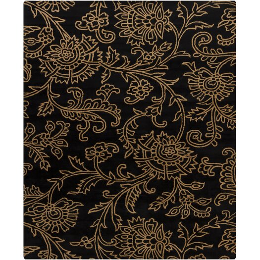 Chandra Rugs Hanu Swirls Floral Black/Gold Floral Area Rug