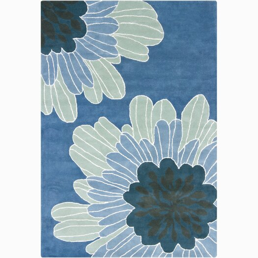 Chandra Rugs INT Blue Floral Area Rug