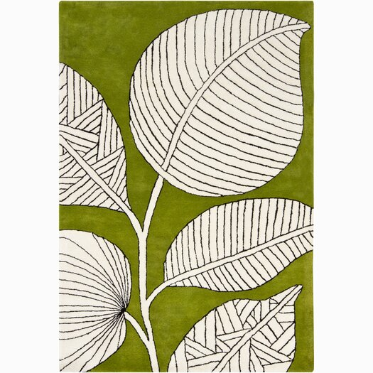 Chandra Rugs INT Green/Ivory Floral Area Rug