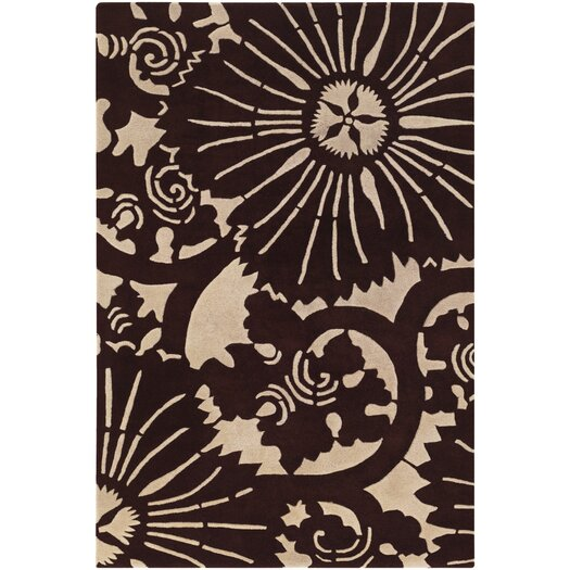Chandra Rugs Counterfeit Contemporary Designer Dark Brown Area Rug