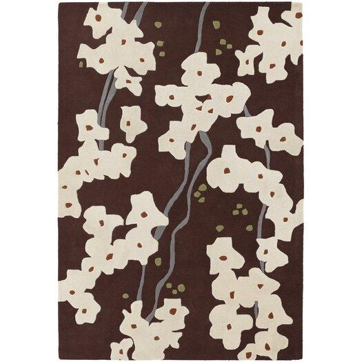 Chandra Rugs Inhabit Designer Dark Brown/Ivory Area Rug