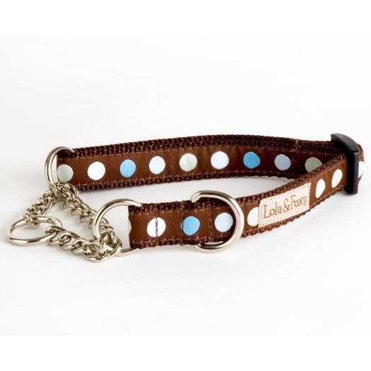 Lola and Foxy Blueberry Truffle Blue/Brown Martingale Dog Collar