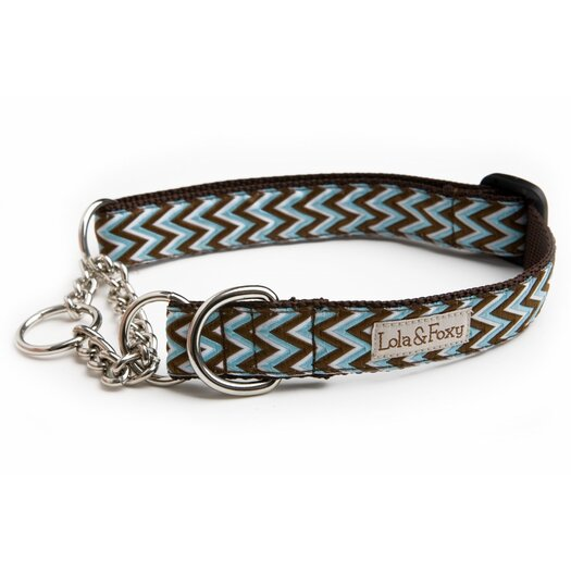 Lola and Foxy Blue Chevron Martingale Dog Collar