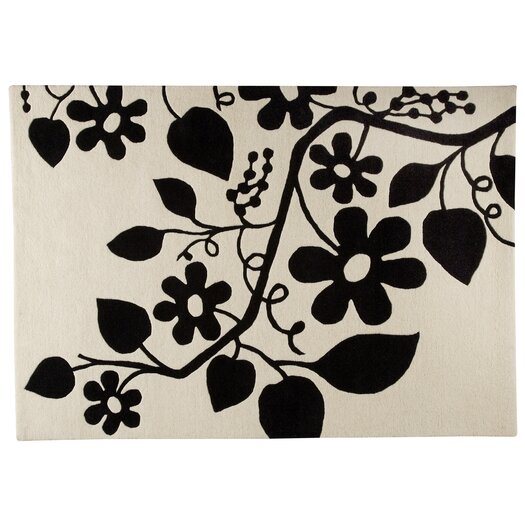 Hokku Designs Flora White/Black Area Rug