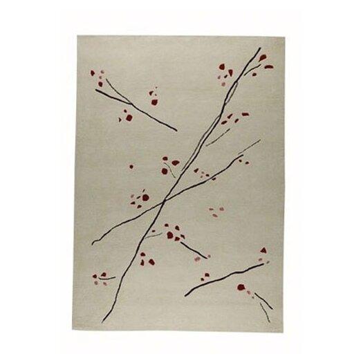 Hokku Designs Inari White/Red Area Rug