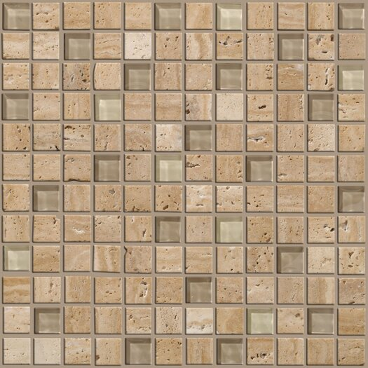 Shaw Floors Mixed Up Mosaic Travertine Accent Tile in Dune