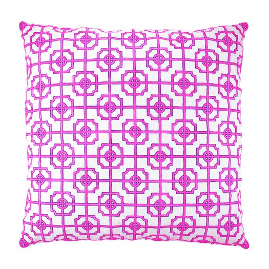 NECTARmodern Lattice Fretwork Chinoserie Embroidered Throw Pillow