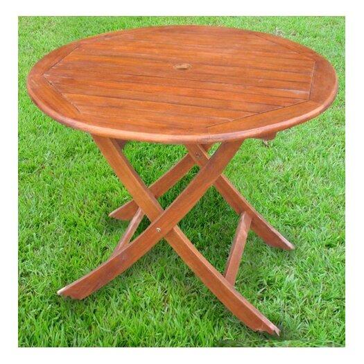 "International Caravan Acacia Patio 38"" Round Folding Dining Table"