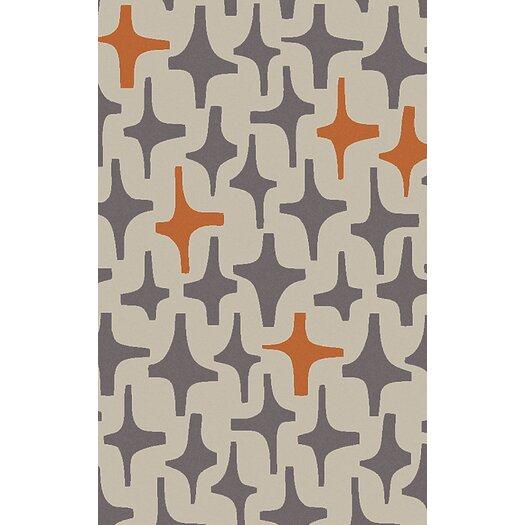 Light Gray/Burnt Orange Geometric Rug