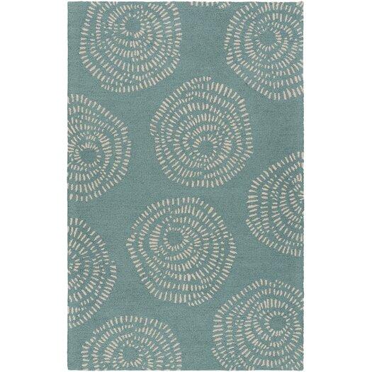 Decorativa Teal/Light Gray Floral Rug
