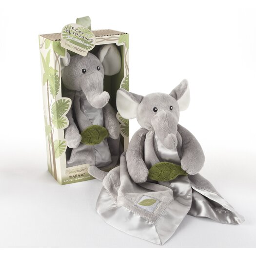 "Baby Aspen ""Ekko the Elephant"" Little Expeditions Plush Rattle Lovie with Crinkle Leaf"